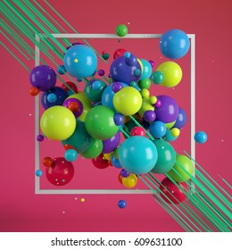 Multicolored decorative balls. Abstract illustration. 3D rendering. Applicable for Covers, Placards, Posters, Flyers and Banner Designs