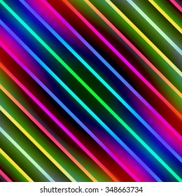 Multicolored diagonal glowing stripes abstract