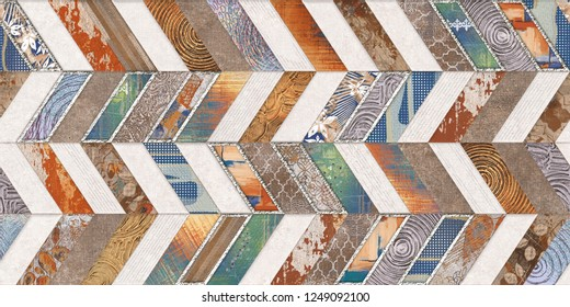 Multicolored Digital Wall Tile Decor For Home Decoration or Seamless marble parquet texture (horizontal and vertical chevron various). wallpaper, linoleum, textile, web page background, Texture.