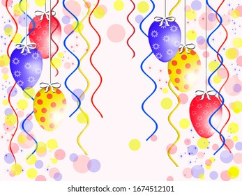 multi-colored easter eggs on a white background