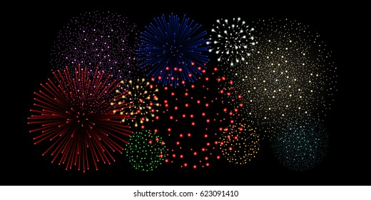 Multicolored fireworks isolated on black background