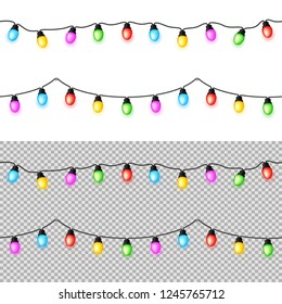 Multicolored Garlands on a Light Background. Garlands Seamless and can Repeat.