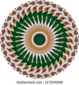 Multicolored, green, white, brown mandala with geometric spiral design on white background. Decorative element, ethnic design, web design, anti-stress therapy, meditation.