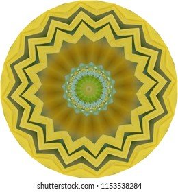 Multicolored green, yellow, blue, tan, brown mandala on yellow background. Decorative element, ethnic design, web design, anti-stress therapy, meditation.
