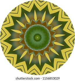 Multicolored green, yellow, tan, brown  mandala. Decorative element, ethnic design, web design, anti-stress therapy, meditation