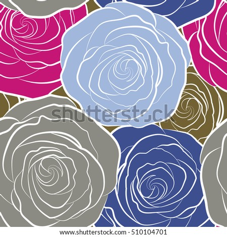 Multicolored Lovely Rose Flowers Seamless Pattern Stock Illustration