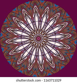 Multicolored, maroon, purple, white, blue mandala with intricate Indian pattern with maroon background. Decorative element, ethnic design, web design, anti-stress therapy, meditation.