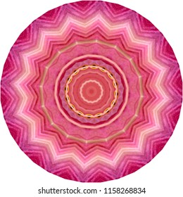 Multicolored orange, magenta, pink mandala on pink background. Decorative element, ethnic design, web design, anti-stress therapy, meditation.