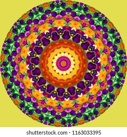 Multicolored orange, red, pink, purple and yellow mandala with floral pattern on yellow background. Decorative element, ethnic design, web design, anti-stress therapy, meditation.