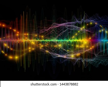Multicolored Oscillation. Optical Flow series. Background design of color lines and lights isolated on black background on the subject of technology, design and education