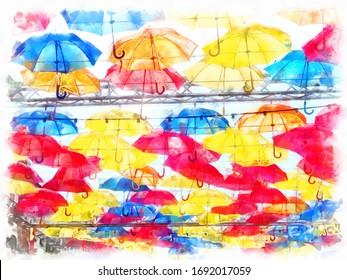 Multicolored paint umbrellas in the sky watercolor  background. Colorful umbrellas in the sky. Street decoration.
