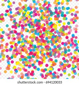 multicolored paper confetti on transparent background stock vector