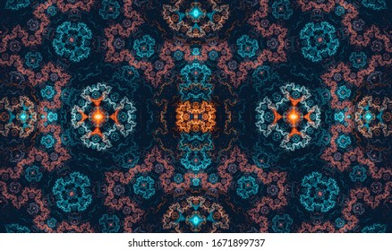 Multicolored pattern on dark background