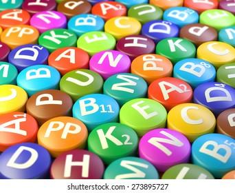 Multicolored pills vitamins
