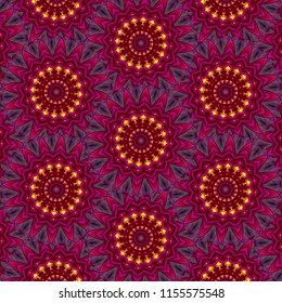 Multicolored, pink, bright yellow, lavender, blue symmetrical geometric mandala pattern on dark background. Abstract design, illustration for wallpaper, fabric, print, wrapping paper, holiday