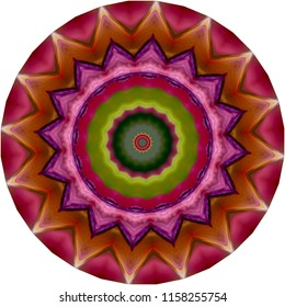 Multicolored pink, magenta, green, lavender, brown mandala with star burst pattern. Decorative element, ethnic design, web design, anti-stress therapy, meditation.