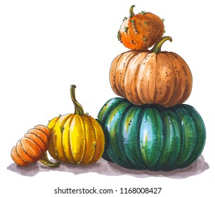 Multicolored pumpkins stacked on top of each other. Autumn harvest. Marker hand drawing picture.