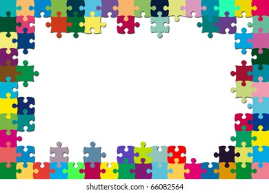 A multicolored puzzle frame with a white background