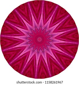 Multicolored red, lavender, pink mandala with star burst pattern. Decorative element, ethnic design, web design, anti-stress therapy, meditation.