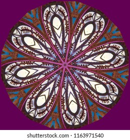Multicolored, red, maroon, white, blue mandala with intricate Indian pattern with maroon background. Decorative element, ethnic design, web design, anti-stress therapy, meditation.