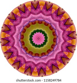 Multicolored red, orange, magenta, pink, lime green mandala with floral design. Decorative element, ethnic design, web design, anti-stress therapy, meditation.