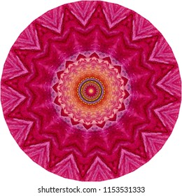 Multicolored red, orange, yellow, magenta, pink mandala on pink background. Decorative element, ethnic design, web design, anti-stress therapy, meditation.