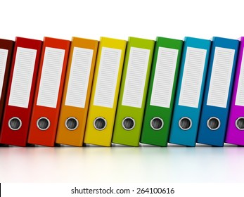 Multi-colored ring binders isolated on white background.
