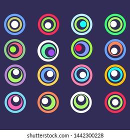 multicolored roundels that look like eyes