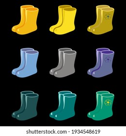 multicolored rubber boots spring pattern yellow