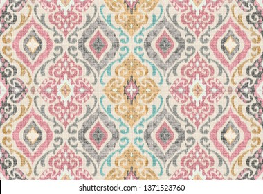 Multicolored Seamless Damask Wavy Effect Pattern For Prints