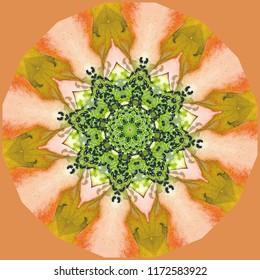 Multicolored shades of orange and yellow, green geometric floral design. Decorative element, ethnic design, web design, anti-stress therapy, meditation.