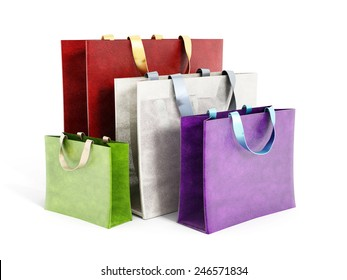 Multicolored shopping bags isolated on white background