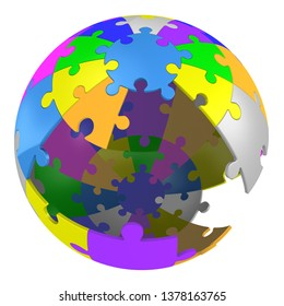 Multicolored spherical puzzle with missing pieces. Sphere made from jigsaw puzzle with missing pieces. Isolated. 3D Illustration