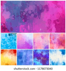Multicolored splash watercolor blot  -  colorful digital painting background. Use for template modern design, cover, poster, brochure, decorated, flyer