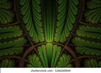 Multicolored symmetrical fractal pattern as ornament. Fractal art. Fractal pattern in stained glass style. Computer generated graphics. Artwork for creative design.