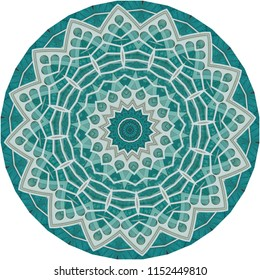 Multicolored teal, gray, white, blue mandala on teal background. Decorative element, ethnic design, web design, anti-stress therapy, meditation, lace design.