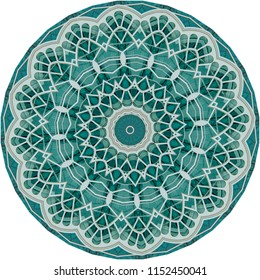 Multicolored teal, gray, white, blue mandala on teal background. Decorative element, ethnic design, web design, geometric, anti-stress therapy, meditation, lace design.