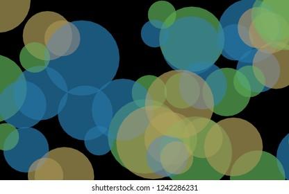 Multicolored translucent circles on a dark background. Green tones. 3D illustration