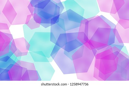 Multicolored translucent hexagons on white background. Red tones. 3D illustration