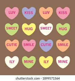 Multicolored Valentines Candy Conversation Hearts