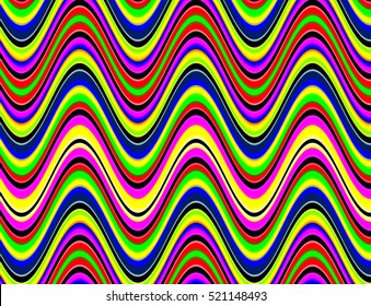 Multicolored vibrant waves effect illustration.
