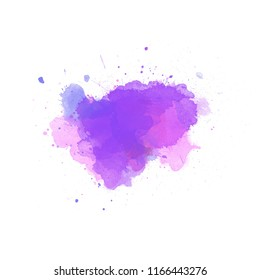 Multicolored violet splash watercolor blot  -  colorful digital painting background. Use for template modern design, cover, poster, brochure, decorated, flyer