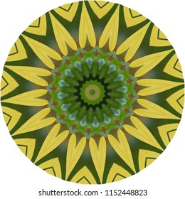 Multicolored yellow, green, blue, black, brown mandala on yellow background. Decorative element, ethnic design, web design, anti-stress therapy, meditation.