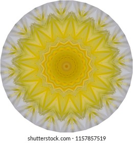 Multicolored yellow, orange and white mandala with texture. Decorative element, ethnic design, web design, anti-stress therapy, meditation