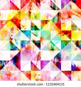 Multicolour Geometric Dye Print