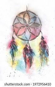 Multicoloured dream Cather watercolour art