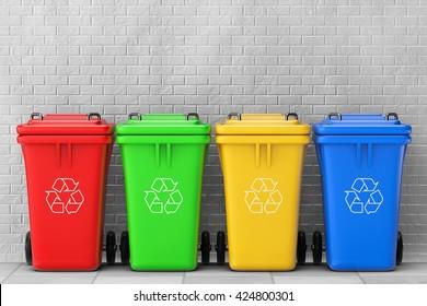 Multicoloured Garbage Trash Bins in front of brick wall. 3d Rendering