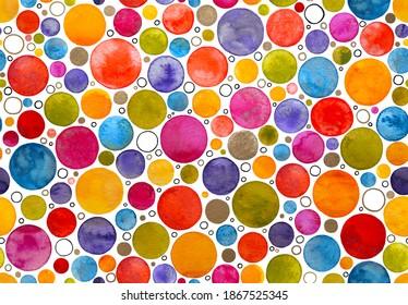 Multicoloured Watercolour Confetti Dots and Circles