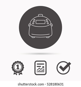Multicooker icon. Kitchen electric device symbol. Report document, winner award and tick. Round circle button with icon.