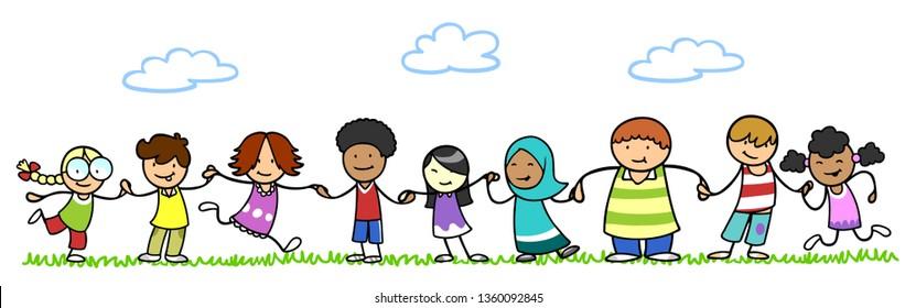 Multicultural children in kindergarten hold hands in nature